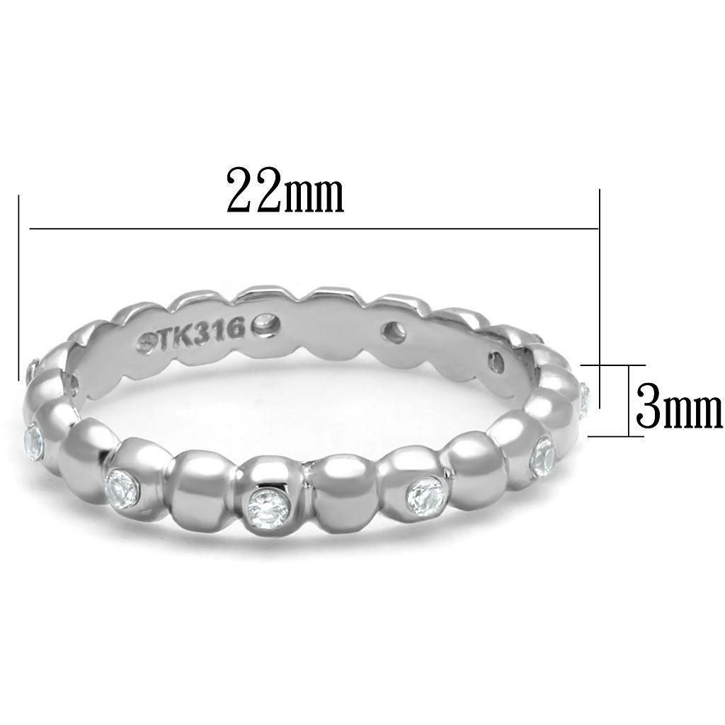 SILVER TONE STAINLESS STEEL BRIDAL ROUND CUT CZ WEDDING BAND RING SIZE 5- 10