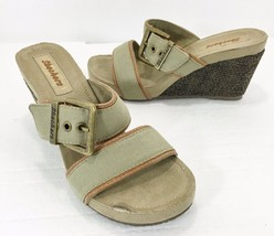 "Skechers Womens 7 Green Khaki Canvas 3"" Wedge Heels Slides Sandals Brass... - $33.81"