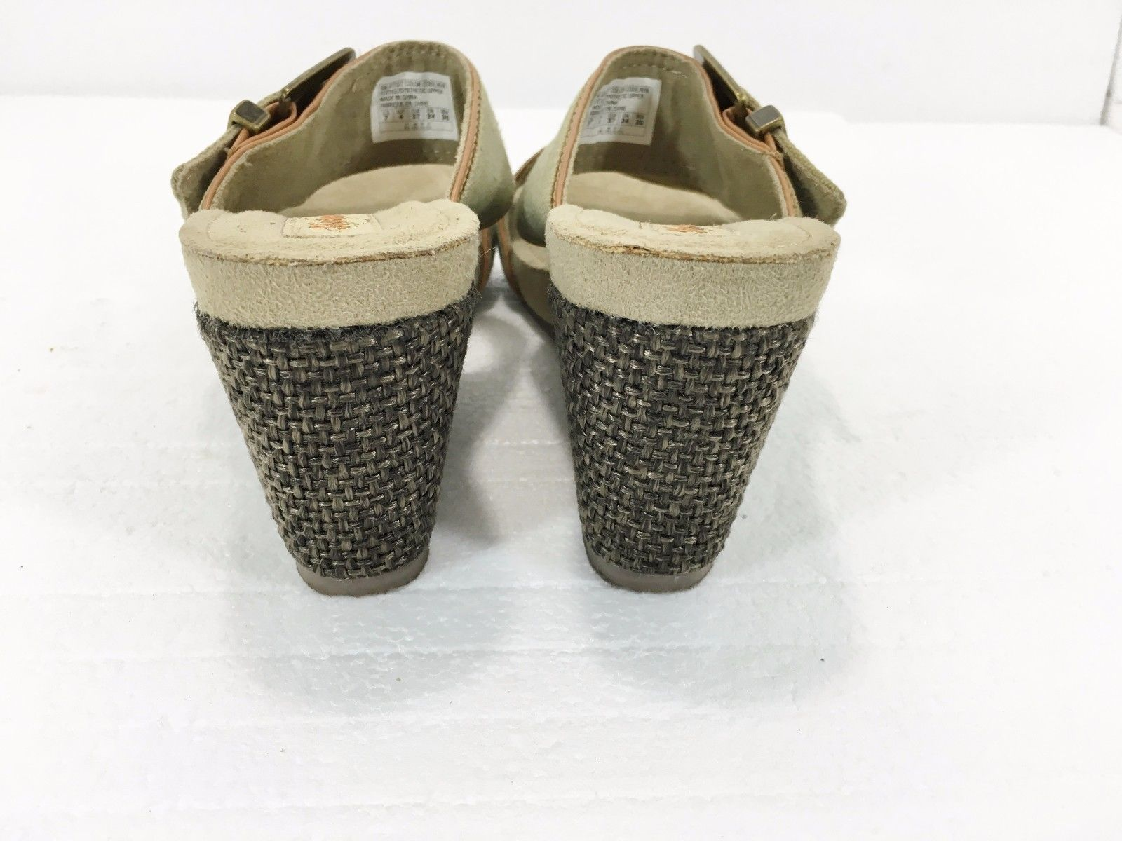 "Skechers Womens 7 Green Khaki Canvas 3"" Wedge Heels Slides Sandals Brass Buckles"