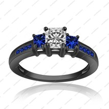 Three Stone Wedding Ring Black Gold Over 925 Silver Princess Cut CZ & Sapphire - $75.99