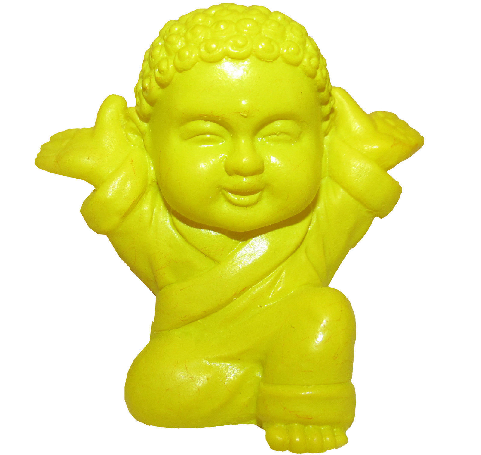 Pocket Buddha Yellow Joyful Buddhism Mini Figure Figurine Toy
