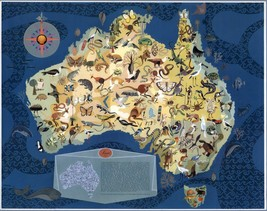 1940 pictorial map Australia with Decorative Animals POSTER 8829000 - $15.84
