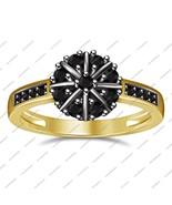 Round Cut Black Sim Diamond 14K Gold Fn. 925 Sterling Silver Engagement ... - $70.99