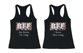 Cute Matching Tank Tops for BFF - Crazy BFF Floral Print Best Friend Tan... - $34.99+