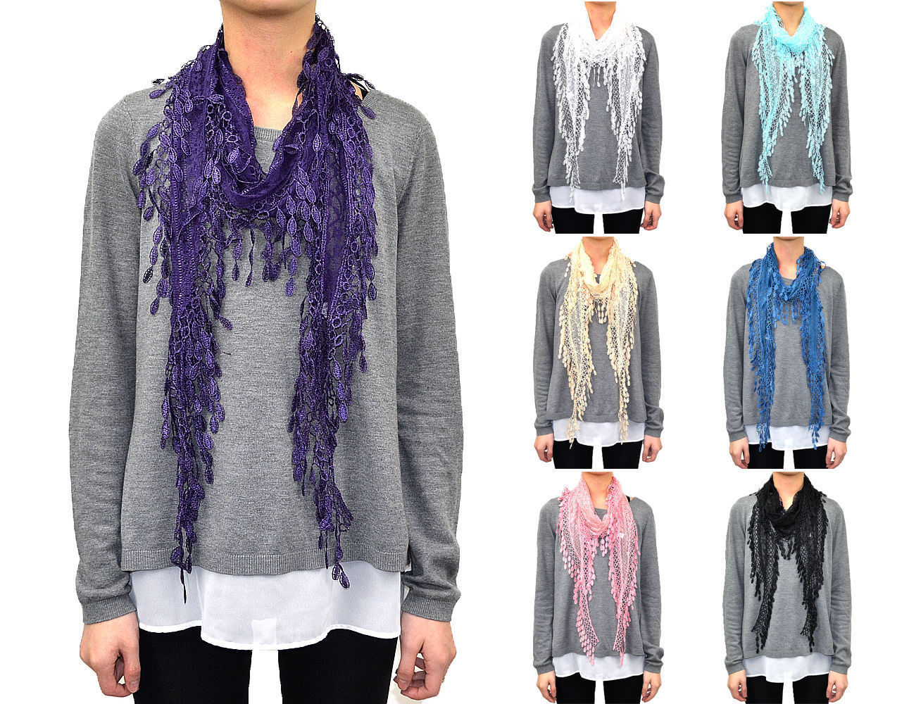 Primary image for 12 PCs Wholesale Women's Melon Seed Fringe Lace Scarf Embroidery Tassel Sheer