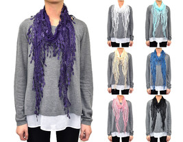 12 PCs Wholesale Women's Melon Seed Fringe Lace Scarf Embroidery Tassel Sheer - $54.44