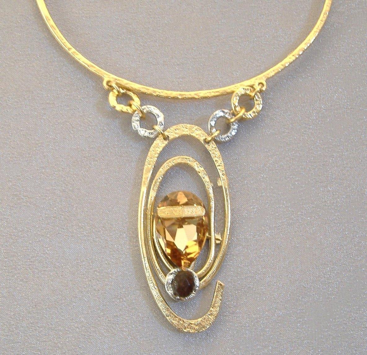 Amber Black Swarovski Crystal Necklace Gemstone Unique Gold Silver Designer  Handmade