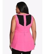 Torrid Size 4 Black & Pink Color Block Peplum Top NWT  - $35.51