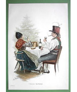 CHRISTMAS TIME Tree Dinner German Family - COLO... - $15.44