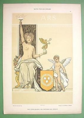 ART NOUVEAU Dekorative Vorbilder Print  - COLOR Nude Muse of Art Cheub