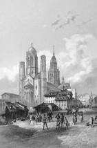 GERMANY View in Mainz - 1860 Antique Print Engr... - $19.01