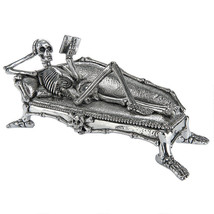 Reclining Human Skeleton Reading on Chaise Lounge Couch Macabre Hallowee... - ₨3,660.05 INR