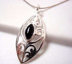 Black Onyx Marquise Floral Filigree Pendant 925 Sterling Silver New - $14.09