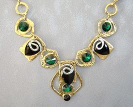 Chunky Emerald Green Black Crystal Necklace Unique Gold Silver  - $495.00