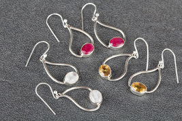 Fashionable Handmade Mixed Lot Of 3 Pcs Multi-Color Gems Silver Earring ... - $33.99