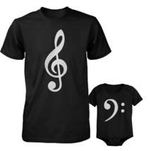 Table Clef Father Shirt And Bass Clef Infant Onesie Outfit Set Fathers Day Gift