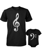 Table Clef Father Shirt And Bass Clef Infant Onesie Outfit Set Fathers D... - $34.99+
