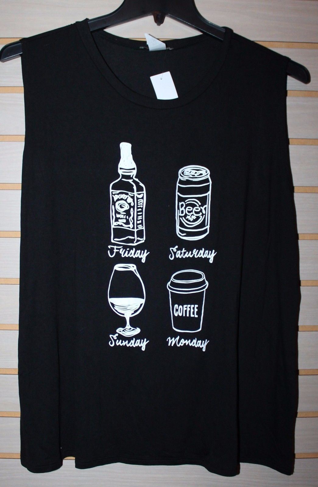 NEW WOMENS PLUS SIZE 3X BLACK DRINK OF CHOICE WHISKEY BEER WINE COFFEE TANK TOP - $17.41
