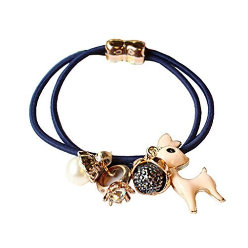 Set of 4 Beads Diamond Flower Deer Hair Rope Ponytail Holders, Navy Blue