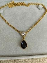 TRIFARI Gold Necklace Black Crystal Pendant - $19.79
