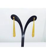9ct Yellow Gold Dangle Earrings Spiral Teardrop Design - $123.50