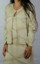 Scala vintage silk women's dress and blazer sequined long dress beige si... - $99.97
