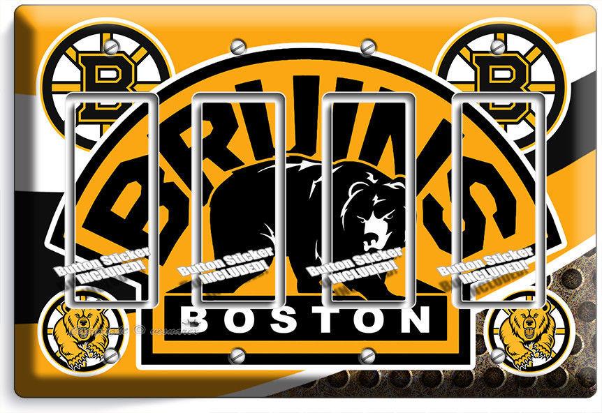 BOSTON BRUINS HOCKEY TEAM LOGO 4 GFI LIGHT SWITCH WALL PLATE COVER ROOM HD DECOR - $21.99