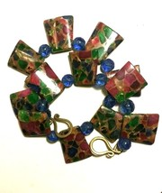 VINTAGE LUCITE INLAID ARTISAN LARGE NECKLACE BLUE PURPLE GREEN - $115.00