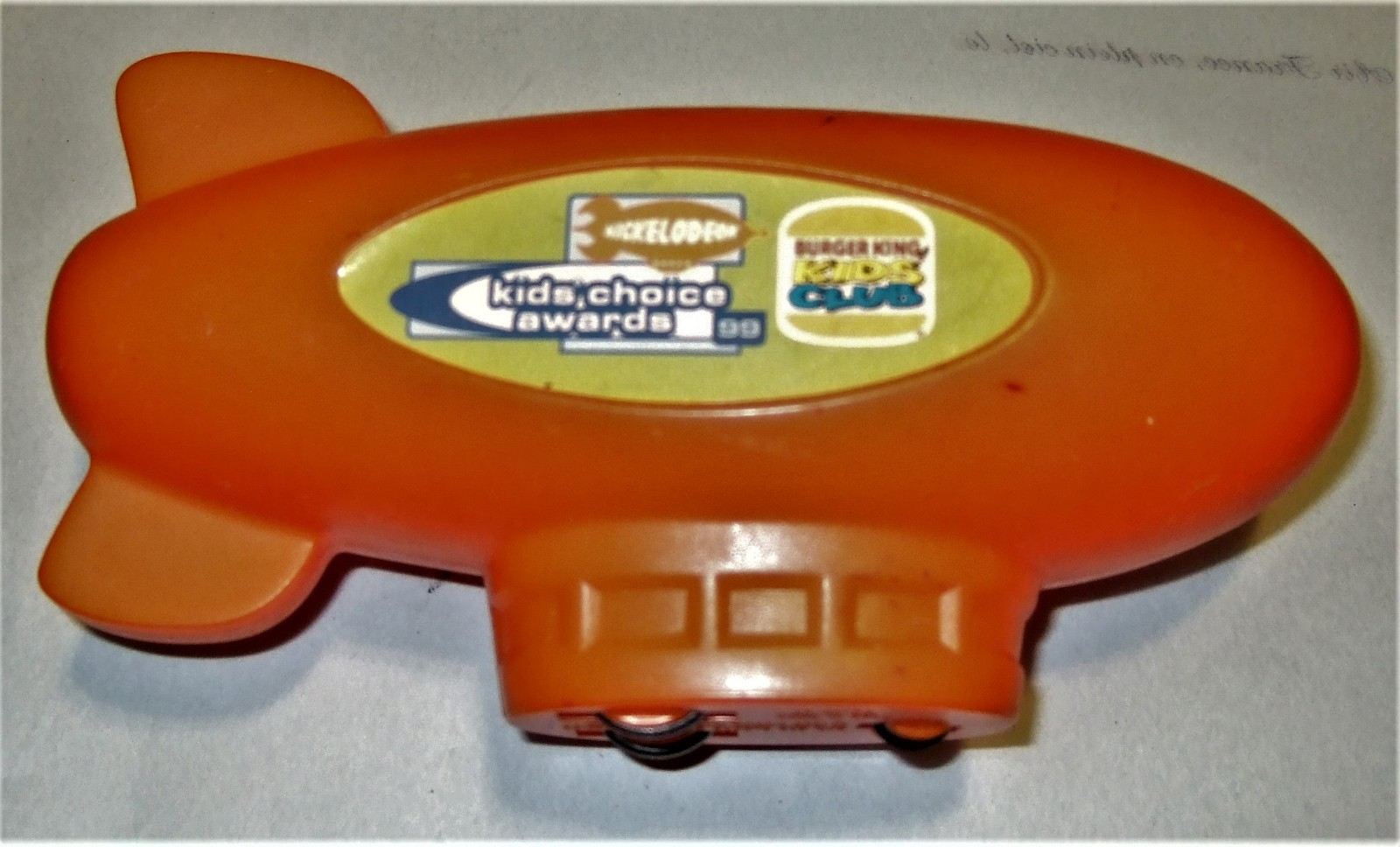 Nickelodeon Vintage 1999 BURGER KING MOTORIZED WIND UP ORANGE BLIMP