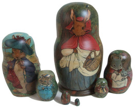 """7pcs One of a Kind Russian Nesting Doll """"Rabbits & Mice Family"""" by Polin... - $589.05"""