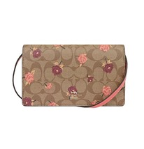 NWT COACH Hayden Foldover Crossbody Clutch Signature Floral Flower Pink ... - $171.24 CAD