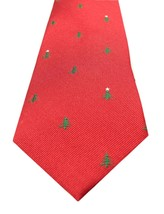 NEW MENS TOMMY HILFIGER CHRISTMAS TREE RED 100% SILK NECK TIE $65 - $24.74