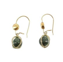 Vintage Gf Spinach Jade Ball Drop Dangle Earrings French Wire Basket Ear... - $44.99