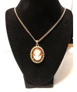 Vintage Cameo Necklace Goldtone - $7.50