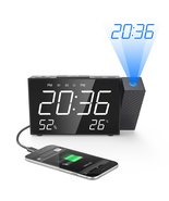 Projection Alarm Clock Digital FM Radio Dual Alarm Volume Snooze Time Hu... - $40.99