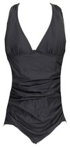 J Crew Ruched Femme One Piece Swimsuit 10 B6819 Black - $32.19
