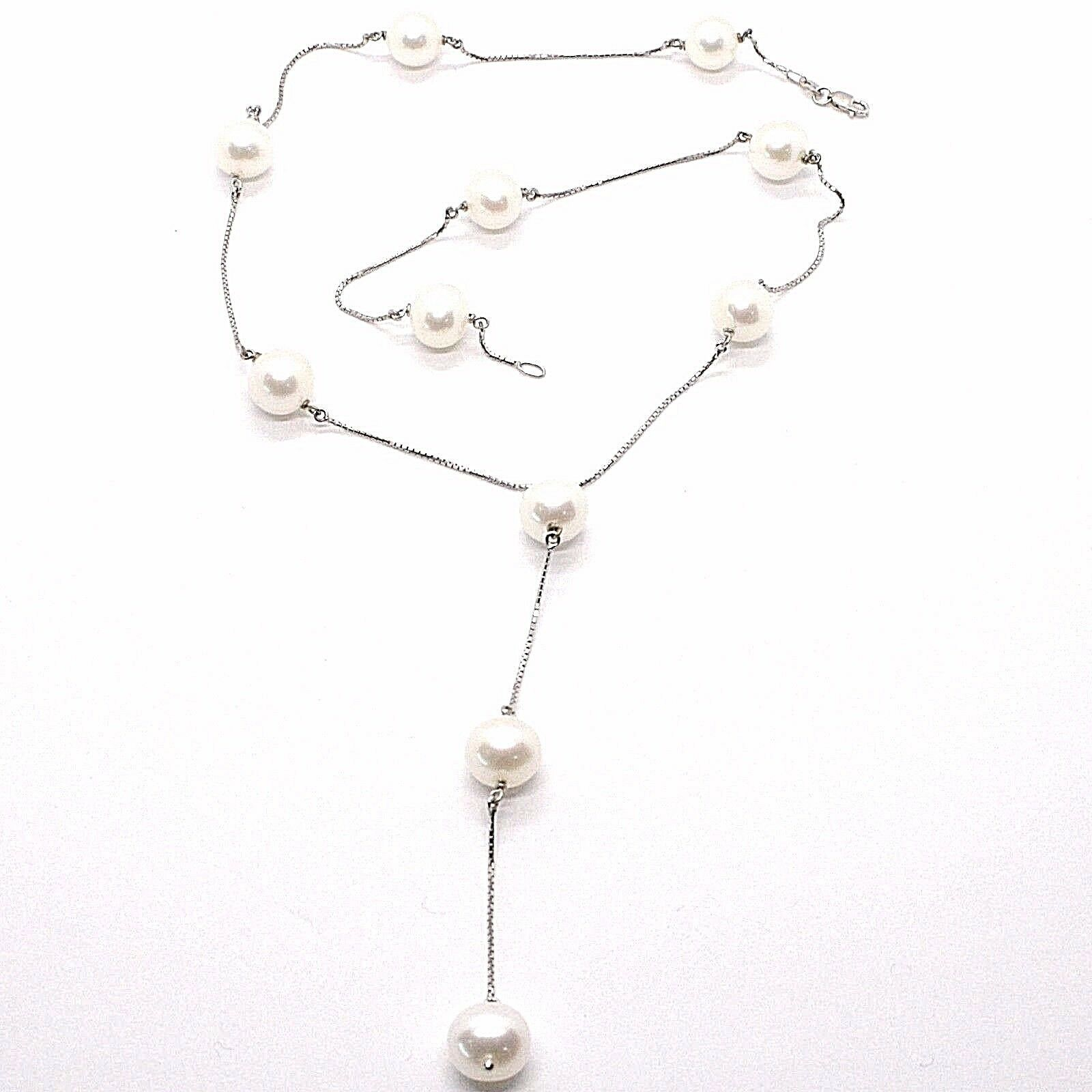 Necklace White Gold 750 18K, White Pearls 10 mm, with Pendant, Chain Venetian