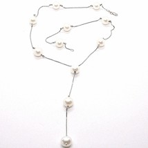 Necklace White Gold 750 18K, White Pearls 10 mm, with Pendant, Chain Venetian image 1
