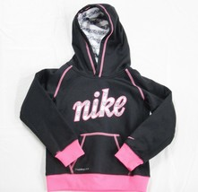 Little Girls Nike Hoodie Therma Fit Size 4 Black and Pink Very Good Condition - $18.80