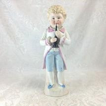 Vintage German Boy Figurine with Bassoon Bisque Musician Ceramic - $31.08