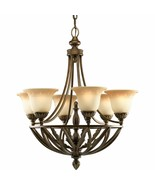 Antique Seeded Glass 6 Light Chandelier Progress Light P4017-120 - $434.24