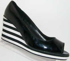American Eagle black peep toe striped platform slip on wedge heels 11 - $25.73