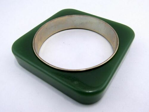 Signed Vintage Liz Claiborne Lucite Green on Metal Modern Square Bangle Bracelet