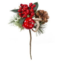 Christmas Pick With Apple Burlap 7.5 Inches - $15.00