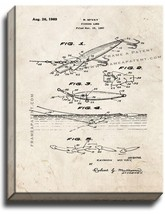 Fishing Lure Patent Print Old Look on Canvas - $39.95+