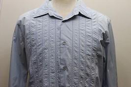 Calvin Klein Gray Blue Embroidered Men Long Sleeve Shirt Medium Cotton Modern Fi - $28.04