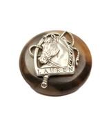 "Ralph Lauren metal plastic Silver clr Horse Replacement sleeve  button .60"" - $4.90"