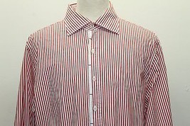 Arrow Troy Tailored Men Long Sleeve Shirt 3XL Red Striped Floral Embroid... - $32.71