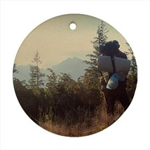 Backpacking Hiker Round Porcelain Ornament - Holiday Seasons - $7.71