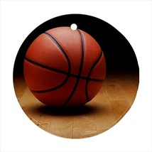 Basketball Round Porcelain Ornament - Holiday Seasons - $7.71